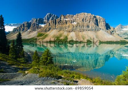 Waputik Ranges Reflection on Bow Lake, Banff, Rocky Mountain, Canada - stock photo