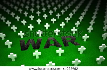 War cemetery memorial. 3D concept - stock photo