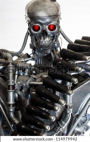 War machine against white background closeup - stock photo
