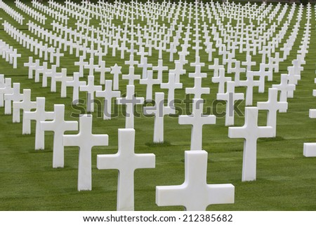 War memorial with white crosses - stock photo