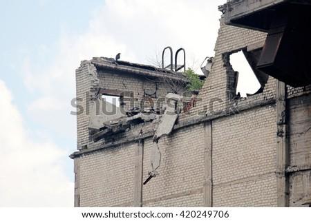 war-ravaged building - stock photo