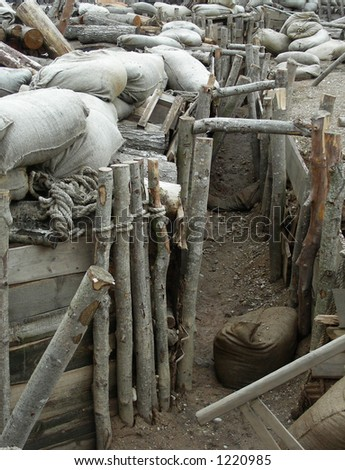 "war set decorations for movie ""Guards of Riga"" - stock photo"