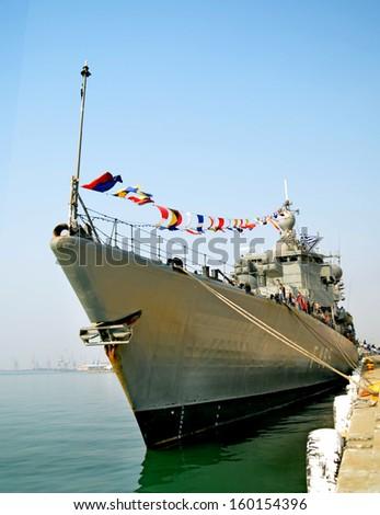 war ship - stock photo