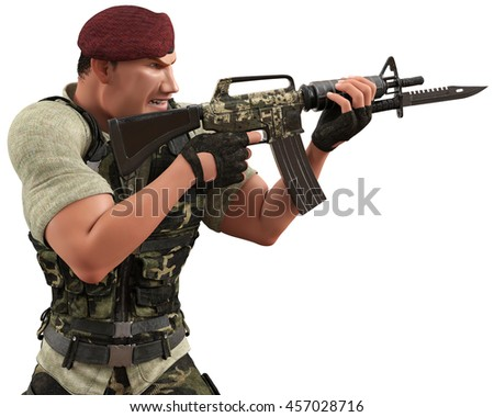 war soldier in action 3d illustration - stock photo