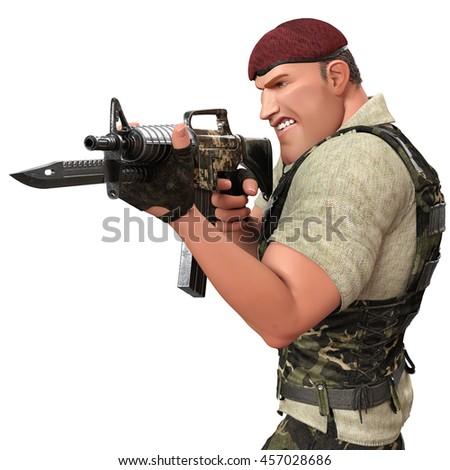 war soldier war soldier in action 2 3d illustration - stock photo