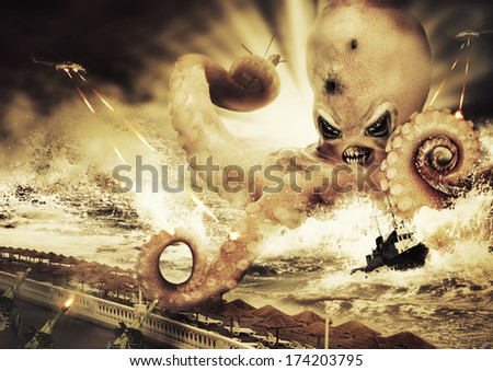 War with a large evil sea monster - octopus alien