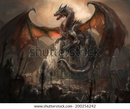 War with the dragon on castle - stock photo