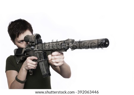 war woman with weapon isolated on the white - stock photo
