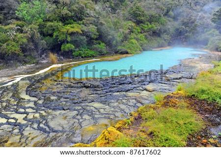 Warbrick Terrace in Waimangu Volcanic Valley Rotorua, New Zealand - stock photo