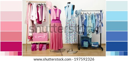 Wardrobe with blue and pink clothes, shoes and accessories with color samples. Dressing closet with all shades of pink and blue clothes arranged on hangers with outfit on two mannequins.  - stock photo