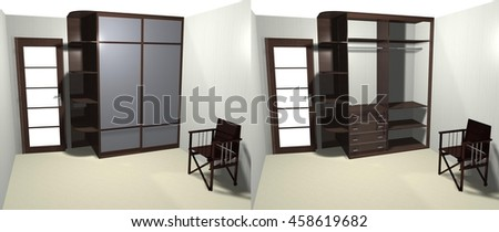 wardrobe with sliding doors 3D rendering, inner filling