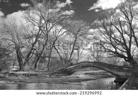 Wards island Toronto in black and white - stock photo