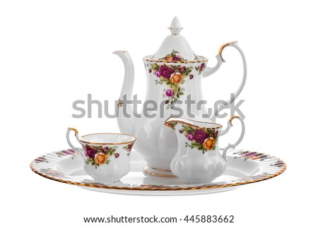 ware set from porcelain  - stock photo