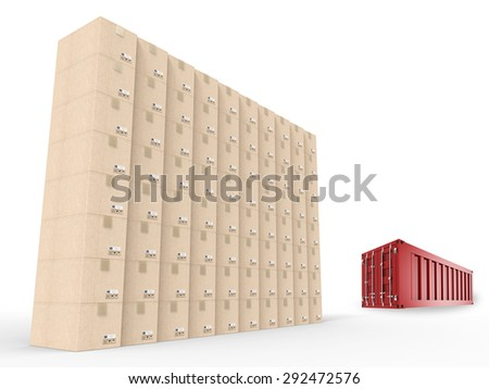 warehouse boxes wall and red container - stock photo