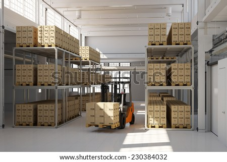 Warehouse building with many storage boxes and a forklift (3D Rendering) - stock photo