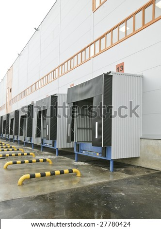 Warehouse complex. Place for unloading of transport. loading dock