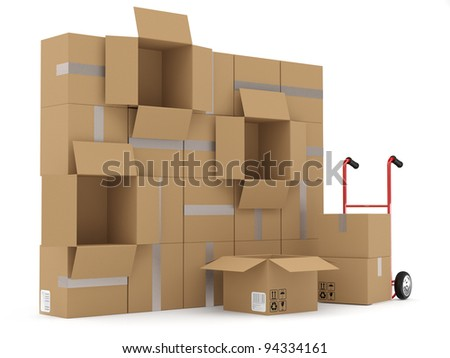 Warehouse concept. Cardboard boxes and hand truck - stock photo
