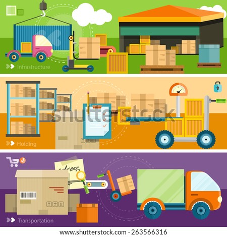Warehouse distribution delivery in different locations. The technique works with boxes parcels. Delivery shipping concept in flat design on banners. Raster version - stock photo