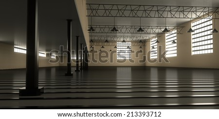 Warehouse for various equipment, 3d render - stock photo