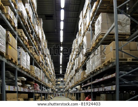 Warehouse full of goods to the roof - stock photo
