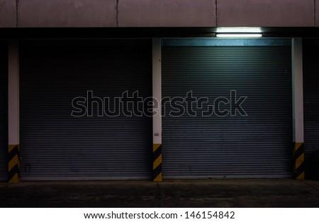 Warehouse Gate at night - stock photo