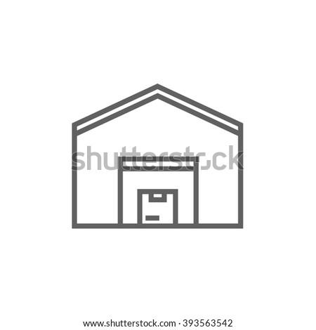 Warehouse line icon. - stock photo