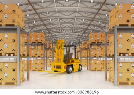 Warehouse logistics, packages shipment, delivery and loading concept, forklift truck and pallets with cardboard boxes in storehouse office building interior - stock photo