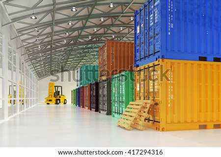 Warehouse logistics, shipment, delivery and freight transportation concept, forklift truck and multicolored cargo containers in storehouse interior, 3d illustration - stock photo