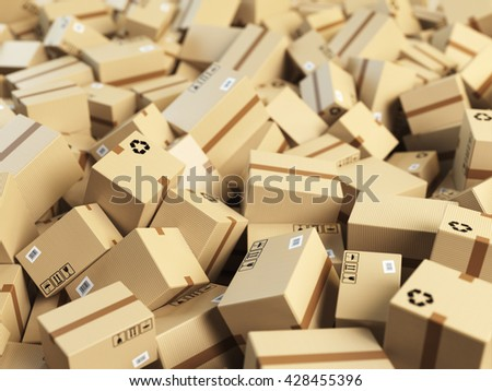 Warehouse or delivery concept background.Heap of cardboard delivery boxes or parcels. 3d illustration - stock photo