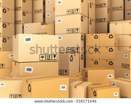 Warehouse or delivery concept. Cardboard boxes background. 3d - stock photo