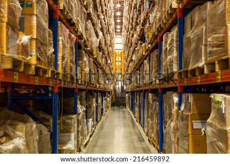 Warehouse Rack of the Company - stock photo