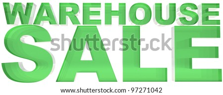 Warehouse sale sign 3d render, isolated on white background
