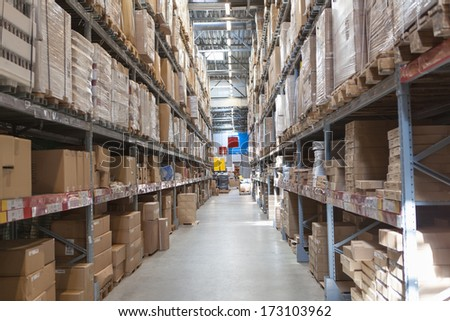 Warehouse storage of retail merchandise shop. - stock photo