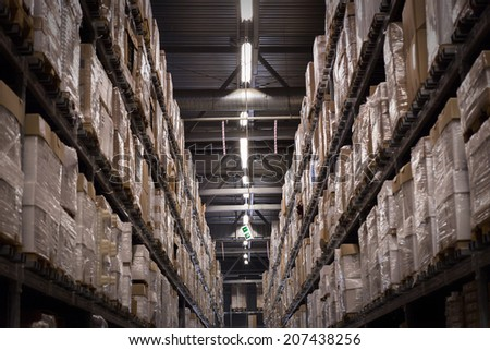 Warehouse with goods - stock photo