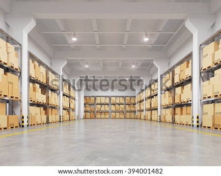 Warehouse with many racks and boxes. 3d illustration. - stock photo