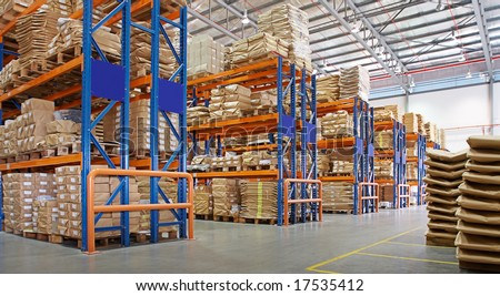 warehouse with multilayer racks in a factory
