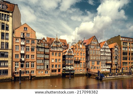 Warehouses in Speicherstadt in Hamburg, Germany - stock photo