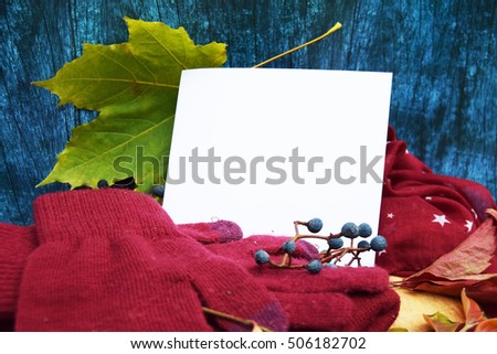 Warm burgundy gloves with a scarf and a hat on a background of blue tree with autumn leaves, and cut the apples derevos oosennego harvest with a sheet for recording and text