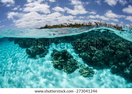 Warm, clear water bathes the remote and beautiful south Pacific island of Lifou, near New Caledonia. - stock photo