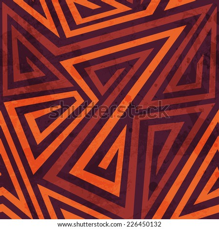 warm color tribal seamless pattern with grunge effect (raster version) - stock photo
