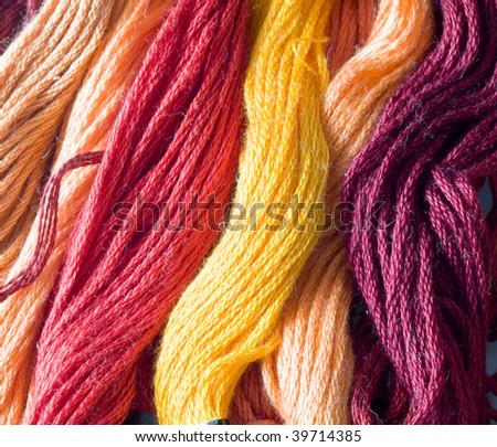 warm color yarns - stock photo