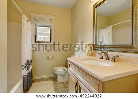 Warm creamy tones bathroom interior with wooden cabinet and mirror, toilet and nice shower curtain.
