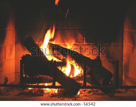Warm Fireplace - stock photo