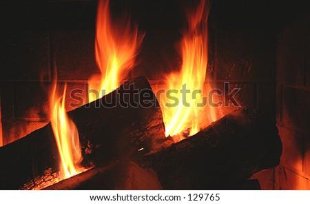 Warm Fireplace - close up - stock photo