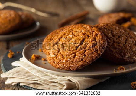 Warm Homemade Gingersnap Cookies topped with Sugar - stock photo