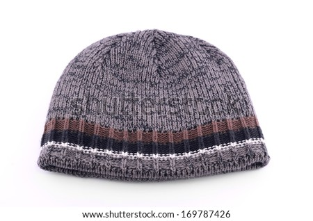 Warm knitted hat isolated on white background