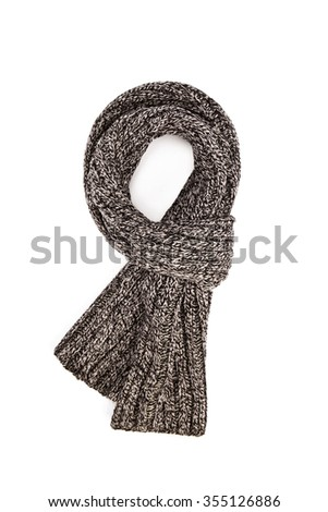 Warm knitted scarf isolated on white - stock photo