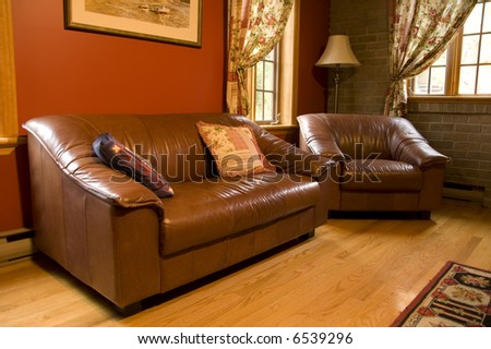 warm living room in home of rural country
