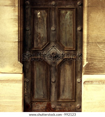 Warm Metal door in desert - stock photo