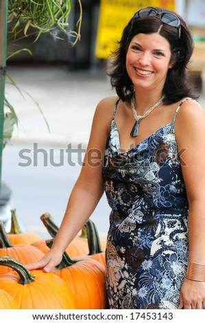 Warm September Day Shopping In The Farmers Market - stock photo